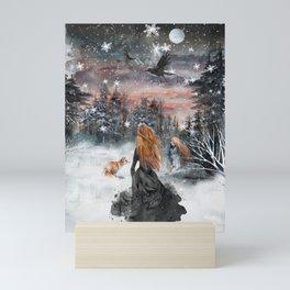 Fairytale winter woman Mini Art Print
