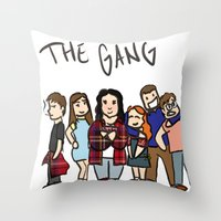 my mad fat diary Throw Pillows featuring My Mad Fat Diary: The gang by Lisa France
