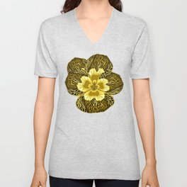 """""""Gold"""" Pansy Flower Special Edition 2 (Clear Back) Unisex V-Neck"""