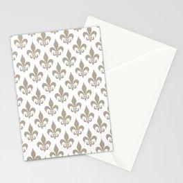 Fleur-de-Lis Pattern: Beige Stationery Cards