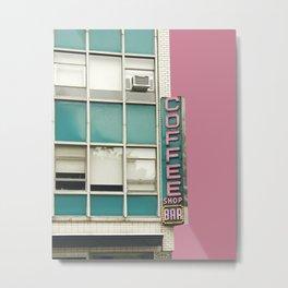 Aqua and Pink New York Coffee Shop Metal Print