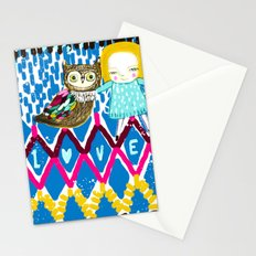 owl and girl love Stationery Cards
