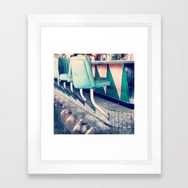 Retro Diner Photograph, kitchen art, restaurant decor, shabby chic, vintage, pastels, mint and pink Framed Art Print