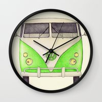 volkswagon Wall Clocks featuring VW Type 2 by One Curious Chip