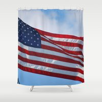 american flag Shower Curtains featuring American Flag by Sarah Shanely Photography