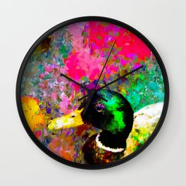 mallard duck with pink green brown purple yellow painting abstract background Wall Clock