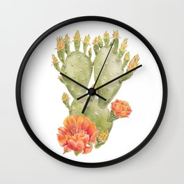 Cactus and Flower Watercolour Painting Print by Magda Opoka Wall Clock