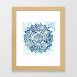 BLUE JEWEL MANDALA Framed Art Print