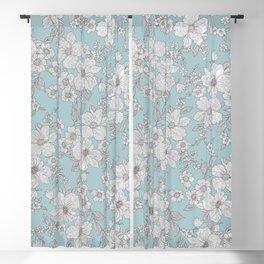 Elegant Silver Glitter Aegean Teal Chic Floral Blackout Curtain