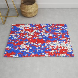 Red blue white sad frogs Pepe and stars Rug