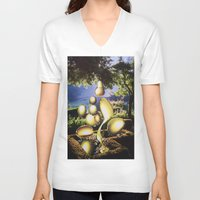 oil V-neck T-shirts featuring Oil by John Turck