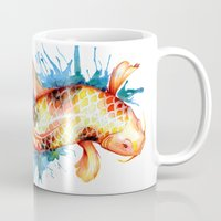 koi fish Mugs featuring Koi Fish by Sam Nagel