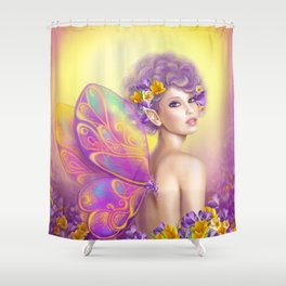 Beautiful girl fairy butterfly at pink and purple flower background Shower Curtain