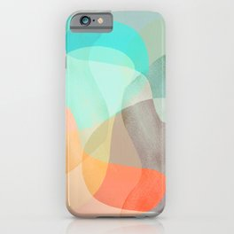 Shapes and Layers no.29 - Blue, Orange, Gray, abstract painting iPhone Case