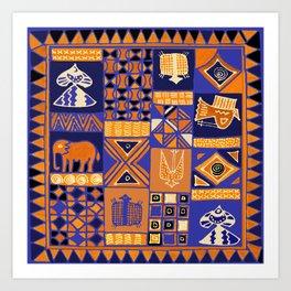 African Batik Collage Art Print