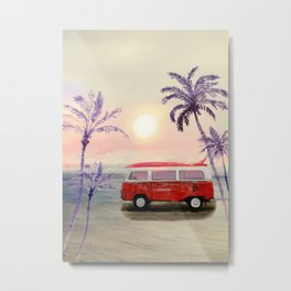 Beach Van Metal Print