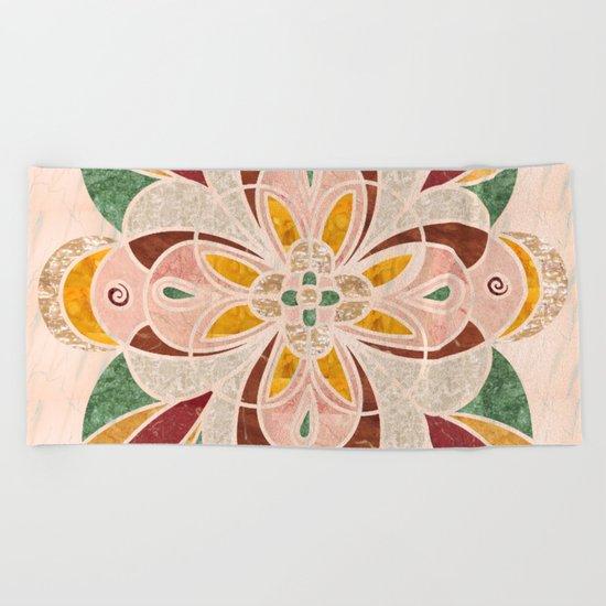 Brown Mandala 04 Beach Towel