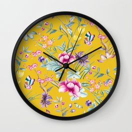 Yellow Chinoiserie Asian Floral Print Wall Clock