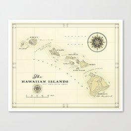 Hawaiian Islands [vintage inspired] map print Canvas Print