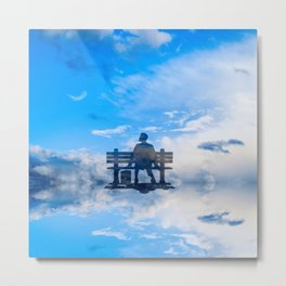 Forrest feather at sky clouds Metal Print