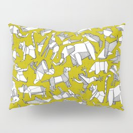 origami animal ditsy chartreuse Pillow Sham