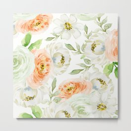 Big Peach and White Flowers Metal Print