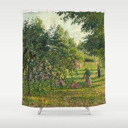 """Camille Pissarro """"Pommiers et faneuses, Eragny"""" Shower Curtain"""