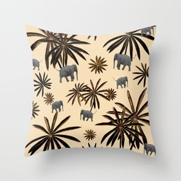 Palm Tree Elephant Jungle Pattern #3 (Kids Collection) #decor #art #society6 Throw Pillow