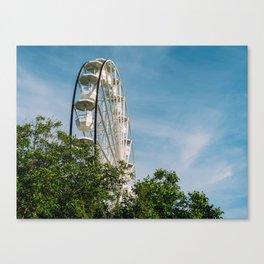 White Ferris Wheel In Fun Park, Theme Park, Ferris Wheel, Having Fun, Wall Art Decor Canvas Print