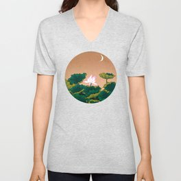 Minhwa: Lotus Pond at Night A Type Unisex V-Neck