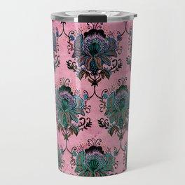 Pink Lotus Damask Travel Mug