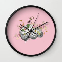 Brain Flowers Collage Wall Clock