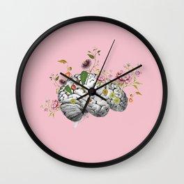Brain Flowers Collage Wall Clock