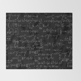 Chalk board mathematics pattern Throw Blanket