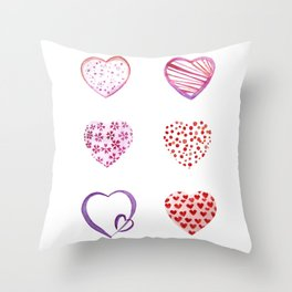 Watercolor Pink Hearts Throw Pillow