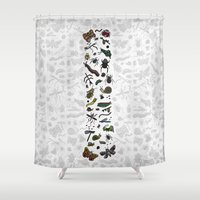 insects Shower Curtains featuring letter I - insects by judypleung