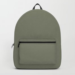Mid-tone Sage Solid Color Pantone Oil Green 17-0115 Accent to Color of the Year 2021 Backpack