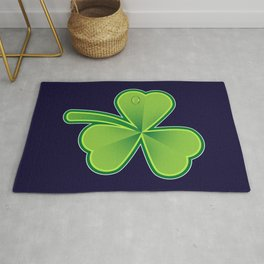 Green Shamrock on dark Rug
