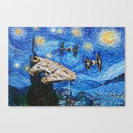 War in Starry Night Canvas Print