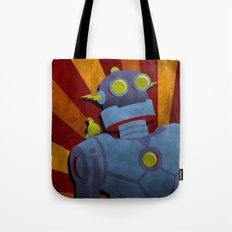 Retro Robot with Yellow Bird Tote Bag