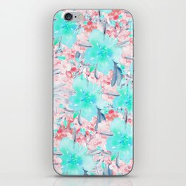 Watercolor turquoise pink hand painted floral iPhone Skin