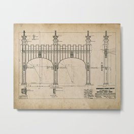 Pittsburgh Bridge Wall Art, 1914 Blueprint, Pittsburgh History & Architecture Metal Print