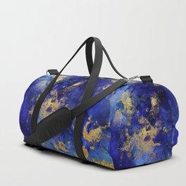 Gold And Blue Indigo Malachite Marble Duffle Bag