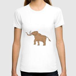 Woolly Mammoth Prancing Drawing T-shirt