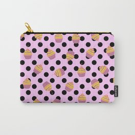 Sweet Pink Cupcakes Picks Dots Carry-All Pouch