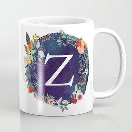 Personalized Monogram Initial Letter Z Floral Wreath Artwork Coffee Mug
