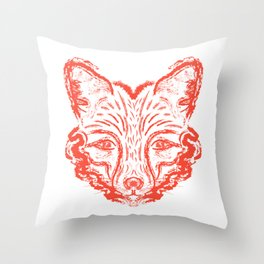 Muzzle foxes. Fox with sideburns, sketch strokes. Throw Pillow