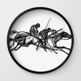 Vintage European Vintage European style engraving featuring horse racing with jockeys by Charles Sim Wall Clock