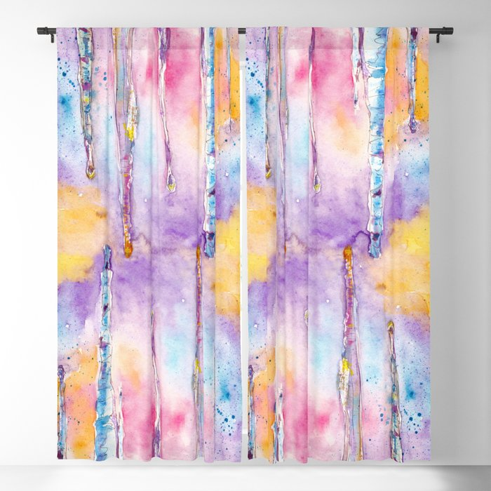 Spring Icicle Abstract Watercolor Background Blackout Curtain By Jeshta