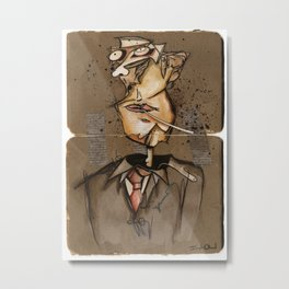 Chaos Portrait of a Man With A Cigarette Metal Print